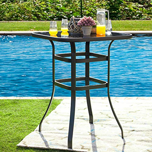 LOKATSE HOME Outdoor Bistro Bar Height Table Metal Frame Square Tempered Furniture Glass Top All Weather for Patio