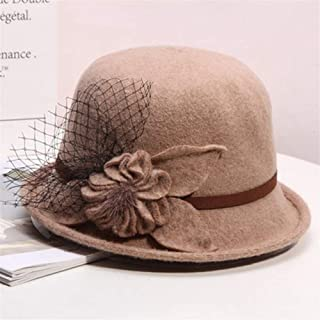 KCBYSS Wool Women Bowler Winter Hat Fedora Bucket Cloche Round Cap Vintage Camel Flower Fashion Elegant Girls Warm Knitted Hat (Color : Camel)