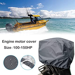 kemimoto 600D Outboard Motor Cover Boat Engine Cover Trailerable Protector 100-150HP Horsepower -Heavy Duty Waterproof Thick Polyester Fabric