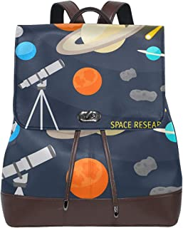 COOSUN Women PU Leather Space Objects And Telescope Backpack Purse Travel School Shoulder Bag Casual Daypack