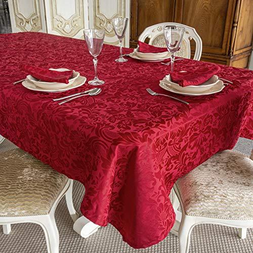 """Mantel de mesa color burdeos. Tratamiento antimanchas. Tamaños grandes, ref. Milano, 80% algodón, 20% poliéster., Burdeos., 59 x 98"""" (150 x 250cm)"""