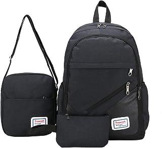 Cocity Premium Canvas School Backpack Set for Girl Boy Kids, 3 in 1 Lightweight Rucksack Laptop Backpack School Bookbags T...