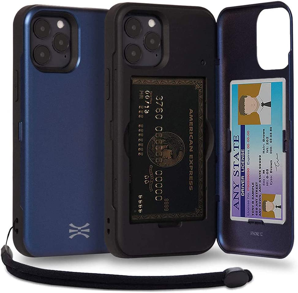 TORU CX PRO Compatible with iPhone 12/12 Pro Wallet Case - Protective Dual Layer with Hidden Card Holder, ID Slot Hard Cover, Strap & Mirror - Navy Blue