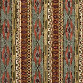 Teal Gold and Red Southwestern Mexican Ranch Stripe Chenille Upholstery Fabric by the yard
