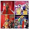Parrucca da clown,Parrucca colorata da clown per adulti con 2x Naso da Clown #5