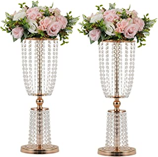 LANLONG 2Pcs Acrylic Crystal Centerpiece Wedding Backdrop Flower vase Candleholder Table Stand Party Decoration Road Lead Frame Wedding decorationDecor Decorations Room Decoration (Gold, 23.75