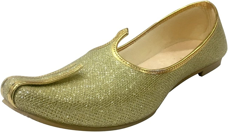 Step n Style Mens gold Glitter Wedding shoes Formal shoes Handmade Jooti Ethnic Jutti Mens Mojari