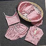 MDHDSY 8piece Set Striped Pajamas Set Women Pyjamas Female Robe Shorts Shirt Stitch Sleepwear L Style 7