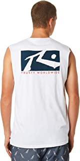 Rusty Men's Boxed In Mens Muscle Crew Neck Cotton White