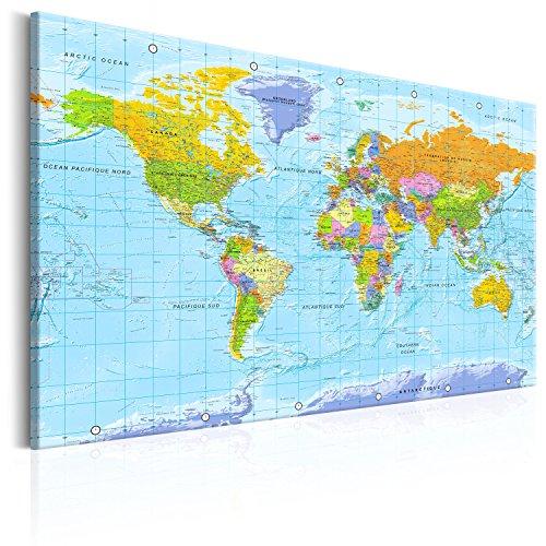 murando français 120x80cm Carte du monde pour mettre des punaises & Tableau sur toile Panneau de fibres de bois tableau d'affichage pour mettre des notes Continent Geographie k-A-0302-v-a