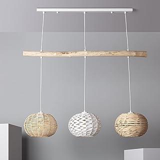 LEDKIA LIGHTING Lampe Suspendue Linfen 1470x900x230 mm Naturel E27 Rotin pour Décoration Salon, Chambre, Cuisine