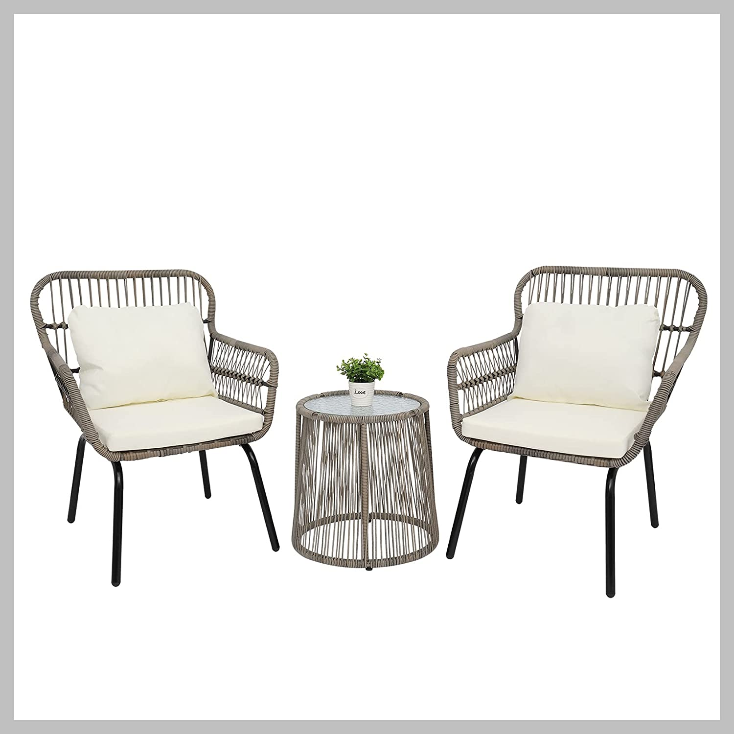 3-Piece price Patio Wicker Conversation Bistro 2 with Chairs Set Gla Long-awaited