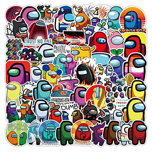 Among Us Stickers 100 Pcs Graffiti Anime Waterproof Trendy Adult Stickers, Perfect for Water Bottles Laptop Phone Car Skateboard Travel Suitcase Durable 100% Vinyl