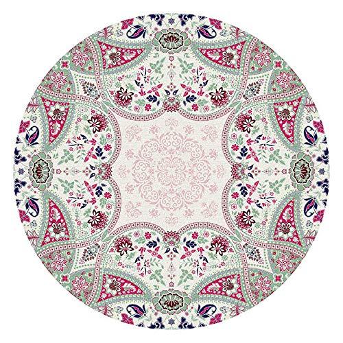 Alfombra Vintage Redonda Salon Grande Decoración del Hogar Duraderas Alfombra Acusticas para Terrazas Dormitorio Lavable Multicolor Motivo Abstracto 90 100 110 130 140 cm