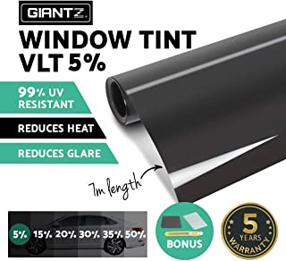 GIANTZ Window Tint Film Black Commercial Car Truck Auto House Glass 76cm X 7m VLT 5%