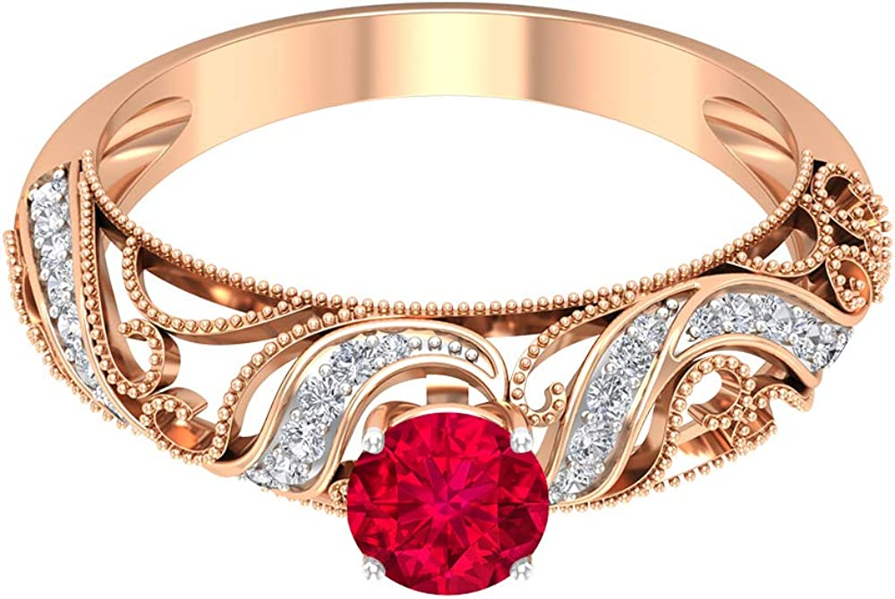 Daily bargain sale Ruby and Diamond Accent Ring Baltimore Mall CT Filigree 0.82 Engagement