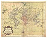 Antique Map of The World - Unframed 8x10 Wall Art Print - 1778 Bellin Nautical World Map - Vintage Office Decor -Makes a Great Gift for Relatives and Friends