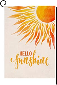 Hello Sunshine Small Garden Flag Vertical Double Sided Spring Summer Burlap Yard Outdoor Decor 12.5 x 18 Inches (109234)