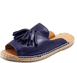 Loosebee◕‿◕ Women Flat Slip On Peep Toe Roman Slipper Shoes Sandals Shallow Mouth Casual Fringed Fish Mouth Slippers