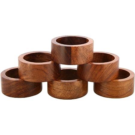 3,8 cm Tischdekoration Ajuny Set mit 12 handgefertigten dekorativen Napking-Ringen aus Holz f/ür Dinner-Party