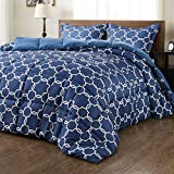 downluxe Lightweight Printed Comforter Set (Queen, Blue) with 2 Pillow Shams - 3-Piece Set - Down Alternative Reversible Comforter