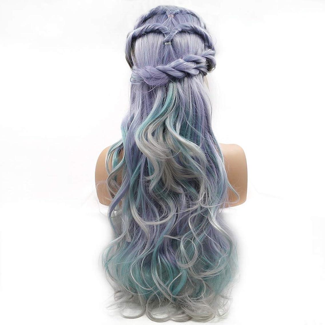 統合する体ナイトスポットZXF グラデーションカラーの長い髪の巻き毛のかつらの女性の手作りのレースヨーロッパとアメリカのかつらはかつらの毛髪のセット 美しい