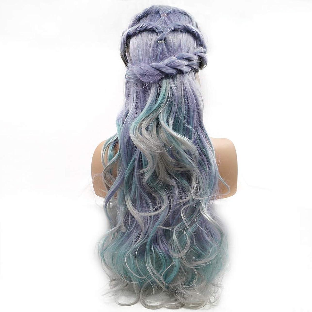空いているまつげターゲットZXF グラデーションカラーの長い髪の巻き毛のかつらの女性の手作りのレースヨーロッパとアメリカのかつらはかつらの毛髪のセット 美しい