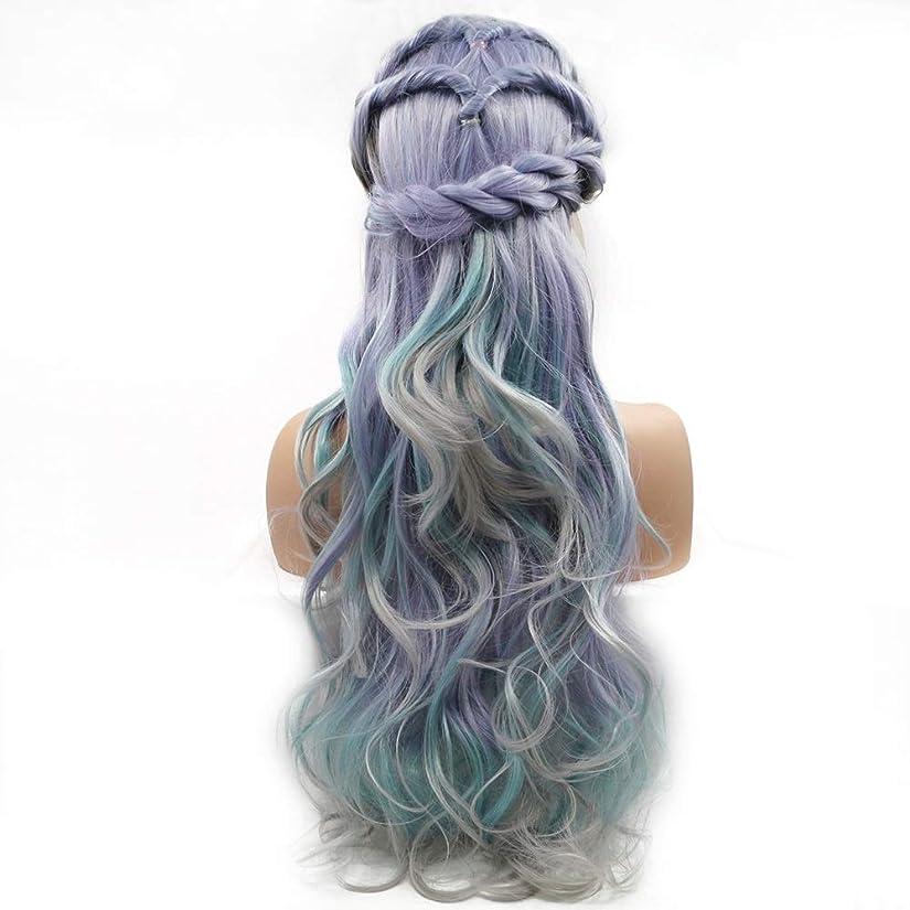 四試用誘発するZXF グラデーションカラーの長い髪の巻き毛のかつらの女性の手作りのレースヨーロッパとアメリカのかつらはかつらの毛髪のセット 美しい