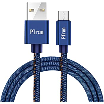 pTron Indigo Micro USB Cable, 2.1A Fast Charging Denim Cable & 1-Meter Long USB Cable - (Blue)