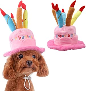 OWUDE Pet Birthday Hat, Cute Dog Birthday Hat with Cake & Candles Design for Cats and Puppy Party Costume Accessory (Pink)