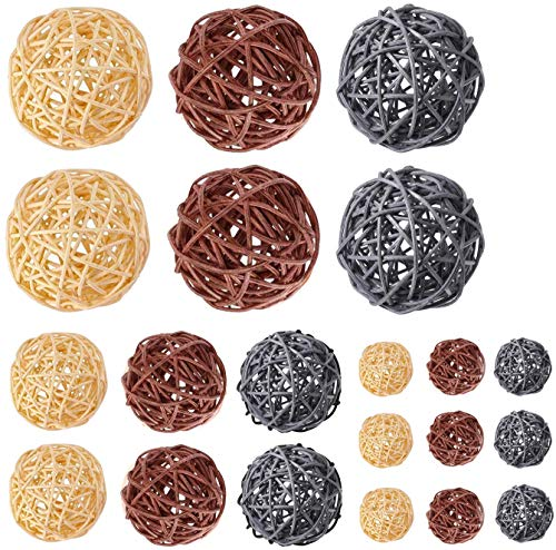 Kubert 21PCS 3 Sizes Decorative Rattan Balls, Perfect Ornament for X-MAS, Wedding, Party, Home Decor, Orbs Vase Fillers(Gray, Natural and Brown)