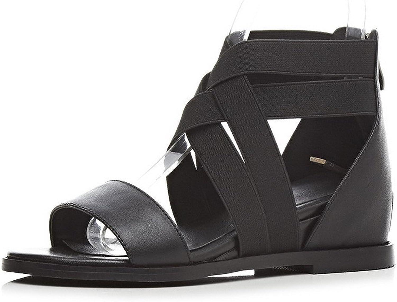 AmoonyFashion Women's Open Toe Low Heels Solid Zipper Sandals