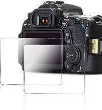 AFUNTA Camera Screen Protector Compatible Canon 70D 80D, 2 Pack Anti-Scratch Tempered Glass DSLR Camera