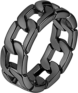 U7 Men Women Stainless Steel/18K Gold/Black Metal Plated 7mm Wide Band Cuban Link Chain Ring/Spinner Rings, Size 5 to 12, ...