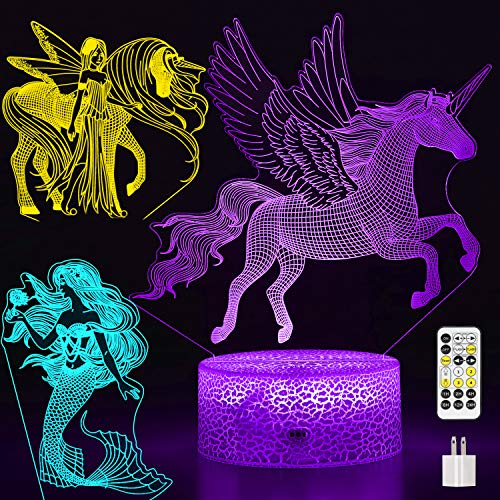 Auto-Off-Timer Unicorn Night Light for Girls, 3-Pattern & 7-Color with Remote, Toy Gift for Girls Year Olds 3 4 5 6 7 8 9, 3D LED Lamp Nightlight