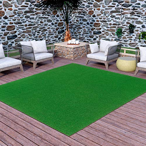 Ottomanson Evergreen Artificial Turf Area Rug, 6'6'X9'3', Green