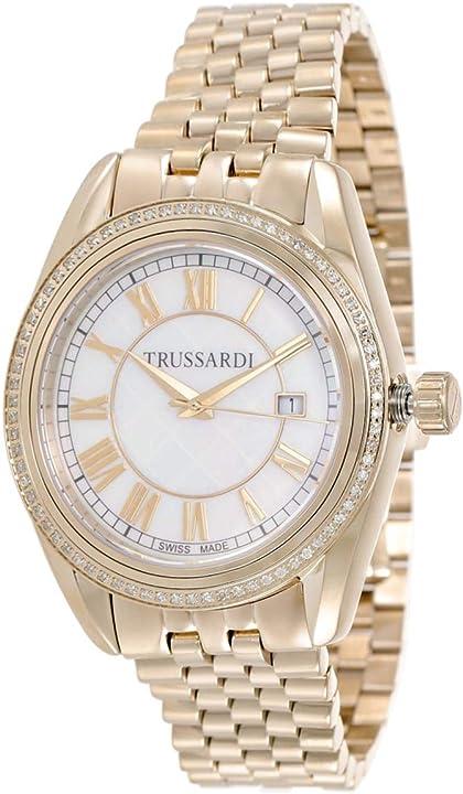 Orologio trussardi dorato analogico al quarzo donna con cinturino in acciaio inossidabile r2453103501