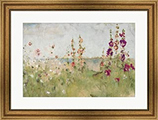 Hollyhocks by The Sea by Cheri Blum Framed Art Print Wall Picture, Wide Gold Frame, 29 x 22 inches