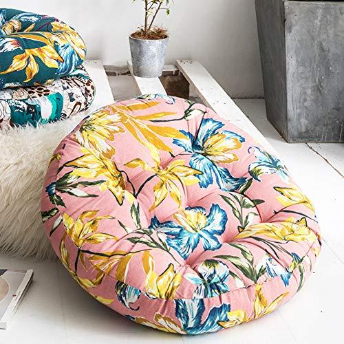Juego de 2 cojines de algodón y lino, para futón, redondos, balcón, ventana de Bavi, silla, estera, estera para la meditación del suelo, lino, G, 56cm(22inch)