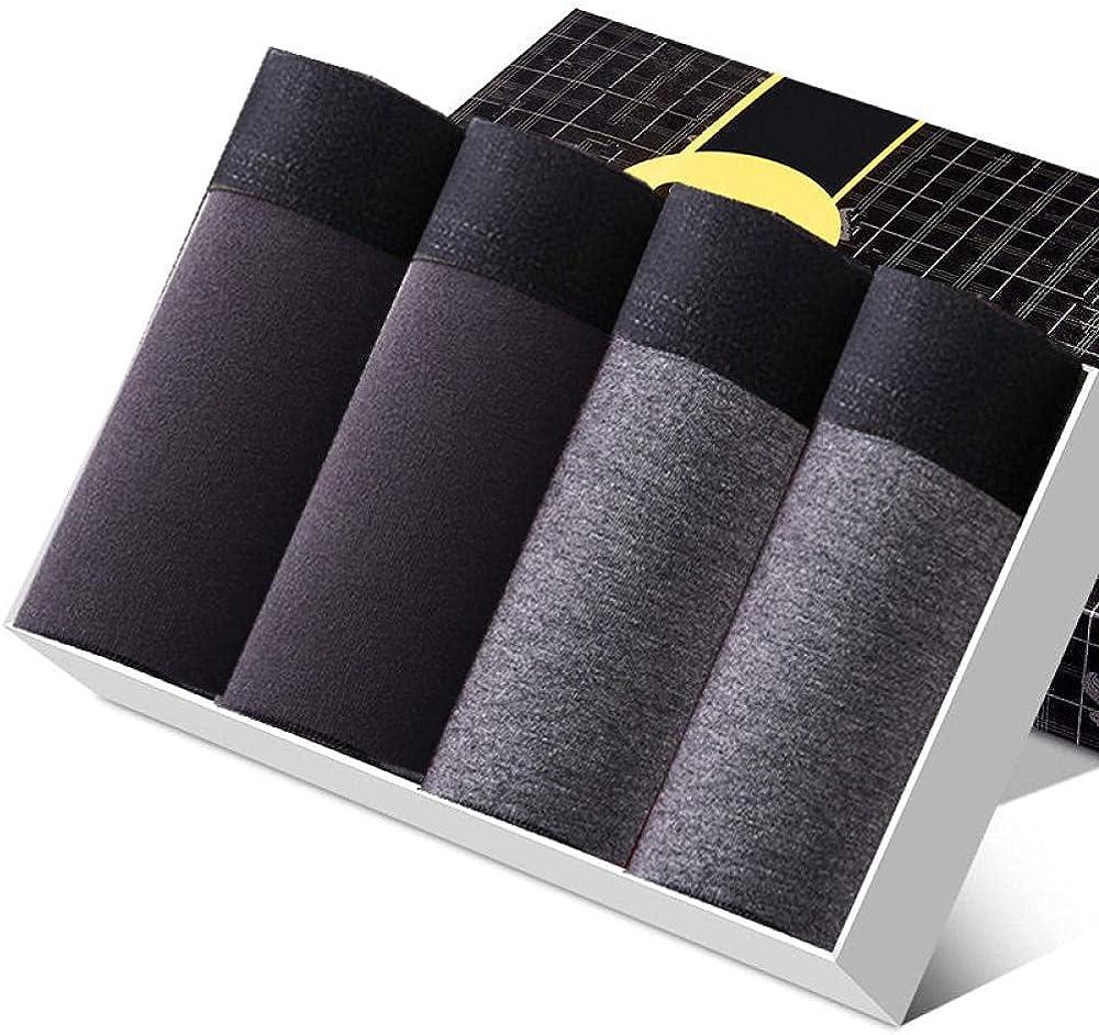 Men'S Boxers 4Pcs/Lot Men'S Shorts Panties Underwear Boxer For Man Cotton Underpants Pouch Take Off Male Husband Thermal Breathable Trunks-2Black2Grey_Xxl