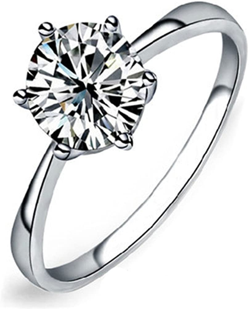 maikun Large discharge sale Womens 18k White Gold Platinum-Plated Rings Cub OFFicial Sparkling