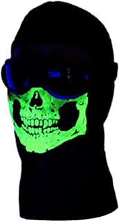 American Made My Skull Store Adult Glow in the Dark 2 Eye Hole Skull Ghost Ski Mask Extra Long Front Neck Balaclava Winter Hood Zombie Ninja Swat Quality 100% Soft Cotton