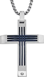 Mens Stainless Steel Diamond Accent Cross Pendant (0.03 carats, H-I I3)