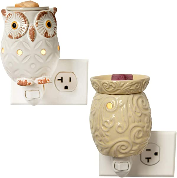 Boulevard Set Of 2 Electric Wax Warmer For Scented Wax Melts Wall Plug In Air Freshener For Soy Cubes Bundle