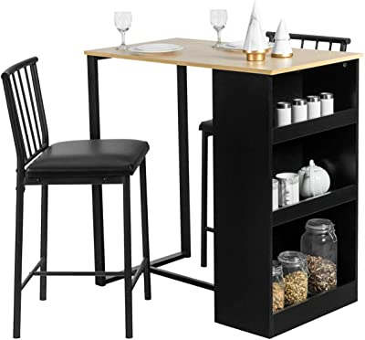 Amazon.com - 3pieces Pub Table And Chairs Set Stool With Storage Shelves Durable Sturdy Heavy Duty Contemporary Ergonomic Comfortable Versatile For Home Restaurant Cafeteria Dining Room Height Counter Bar Kitchen - Table