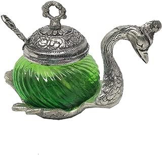 JedaJeda Green Swan Sugar Bowl White Oxidize Metal Decorative