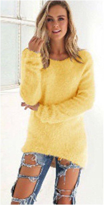 REFAGO Fashion Solid Farbe Long Sleeve Woherren Sweater Top, Gelb