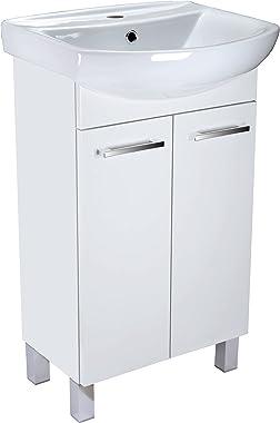 Lavabo avec meuble bas Lugo - Meuble de salle de bain - 50 cm - Meuble sous vasque - Blanc