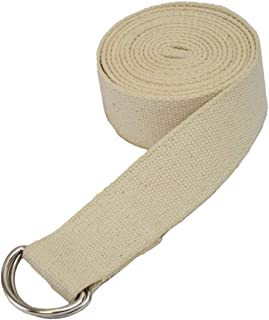 (3M Long, Tan/Natural) - Yogaaccessories D-Ring Buckle Cotton Yoga Strap
