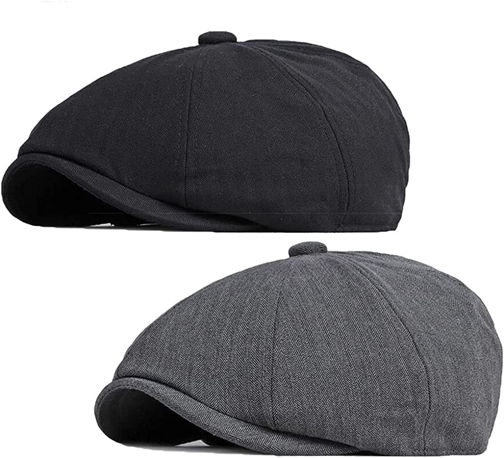 Newsboy Flat OFFer Cap for Men Outstanding 8 Ivy Panel Cabbie Gatsby Peaky Hat